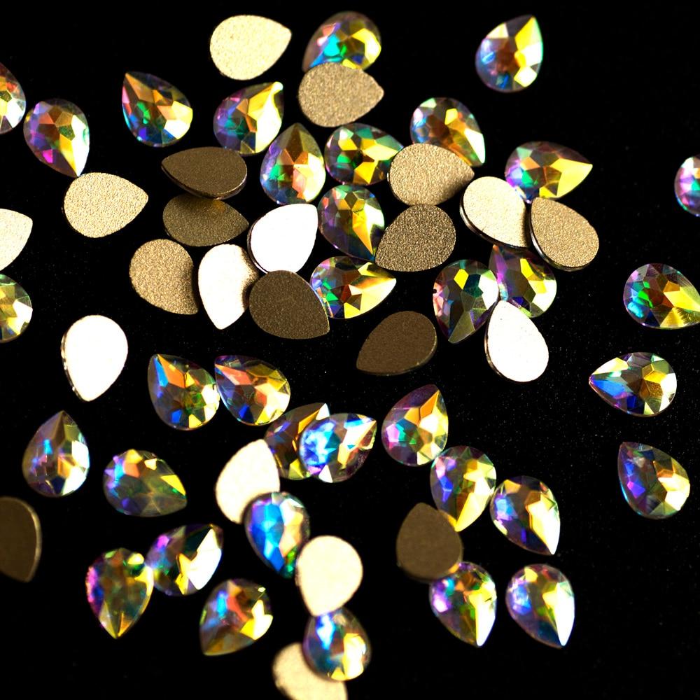 144 unids y 72 unids Cristal Belleza Etiqueta Nail Drop Studs Encanto - Arte de uñas