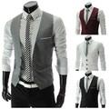 Gilet Homme Men Casual Suite Vest Plus Size XXXL Sleeveless Gilet Grey Suit Vest Black White Veste Sans Manche Casual Suit Vest