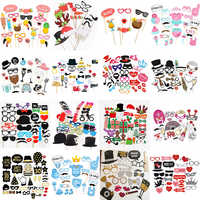 10-60 sztuk DIY Photo Booth rekwizyty śmieszne maski okulary wąsy wargi na patyku urodziny dekoracja ślubna panny młodej party akcesoria