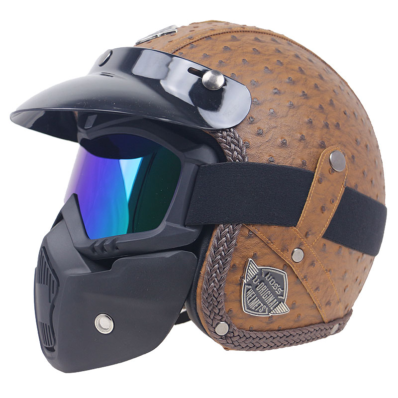 Popular Vintage motorbike helmet Leather motorcycle helmet 3/4 open face helmet with mask design fashion and safety bike helmet