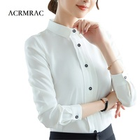 ACRMRAC Women shirt Slim white OL Formal Business Long sleeve shirt Women