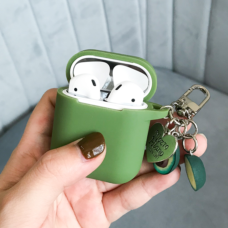 Green Avocado Decorative Silicone Case For Apple Airpods Bluetooth Earphone Accessories For I10 Protective Cover Bags Key Ring