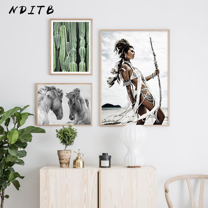 Tribal Indian Girl Horse Abstract Poster Canvas Art Decorative Print Wall Painting Nordic Style Picture Modern Living Room Decor