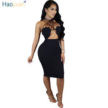 HAOYUAN Summer Dress Women 2017 New Robe Sexy Party Dresses Backless Off Shoulder Hollow Out Club Vestidos Bodycon Bandage Dress