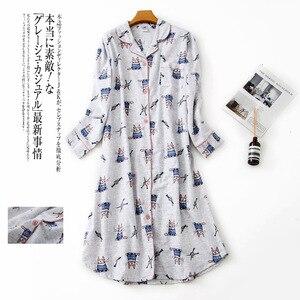 Image 3 - Plus rozmiar długa koszula nocna kobiety bielizna nocna winter warm 100% szczotkowana bawełna z długim rękawem koszule nocne kobiety piżamy noc długa sukienka