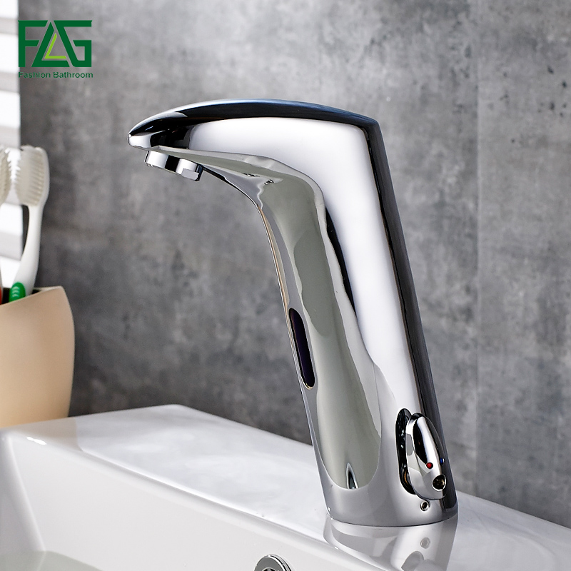 FLG Faucet Sensor Bathroom Automatic Hands Touch Water Saving Inductive Electric Water Tap Battery Power Basin Faucets