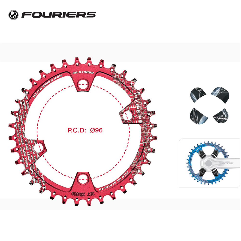 Fouriers Bike Single Chain Ring Narrow Wide Teeth Chainrings Sprocket 30T 32T 34T 36T BCD 96mm for X T R M9000 M9020 Chain Wheel 1pc fouriers cr dx006 130 road bike bicycle cnc single chain ring narrow wide teeth 38t 40t 42t 5mm p c d 130mm compatible