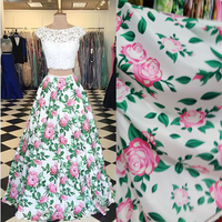 Women S Floral Print 2 Pieces Long Formal Prom Dresses 2017 Junior New Satin Lace Open