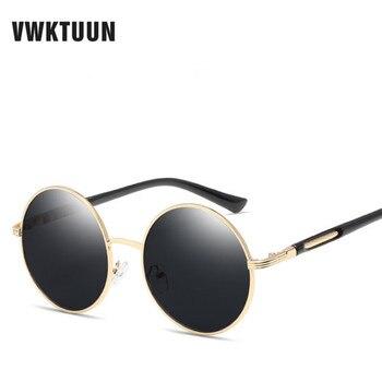 ac05464274 VWKTUUN gafas de sol redondas Retro de gran tamaño de marca de diseñador  gafas de sol Vintage para mujer gafas Steampunk gafas de espejo