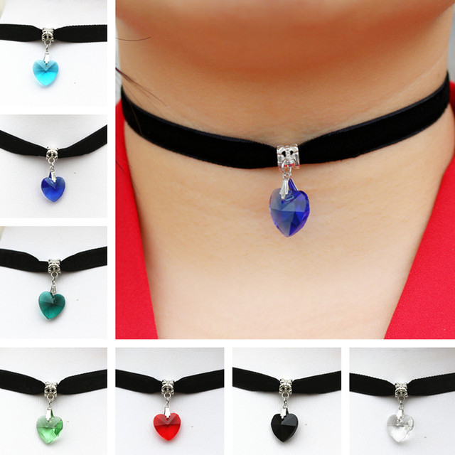 N2015 Gothic Terylene Choker Necklace Love Heart Crystal Pendant Sailor Moon Woman Girl Jewelry Fashion Necklaces One Direction