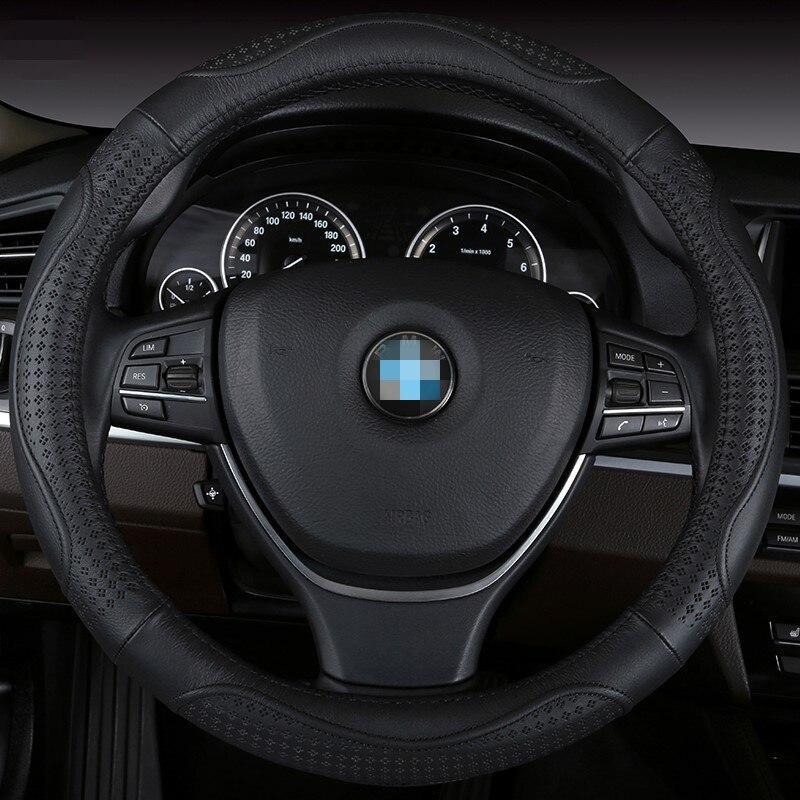 Крышка рулевого колеса автомобиля Пояса из натуральной кожи размер 38 см Lada Ford Nissan Volkswagen VW SKODA CHEVROLET и т. д. 98% автомобилей ...