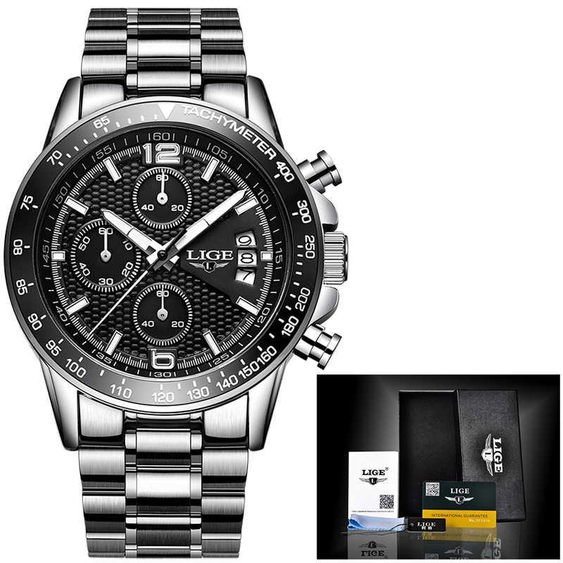 2019 ליגע חדש לגמרי גברים של שעונים עסקי קוורץ שעון גברים אמיתי שלושה חיוג זוהר עמיד למים 30M חיצוני ספורט פלדה שעון