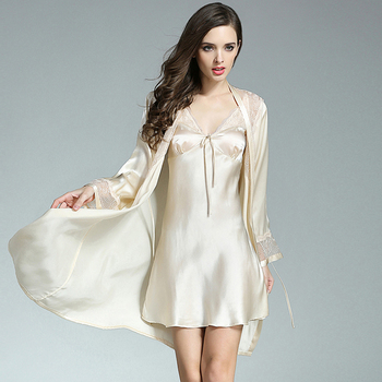 Robe Sets Women 100% Silk Fabric Sleepwear Two Pieces Set Embroidery Decoration Sashes 4 Colors Sexy Style Nightgown