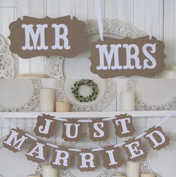 new arrival  rustic Wedding decoration flag Garland Wedding banner with white ribbon Party Decorations(MR/MRS JUST MARRIED)