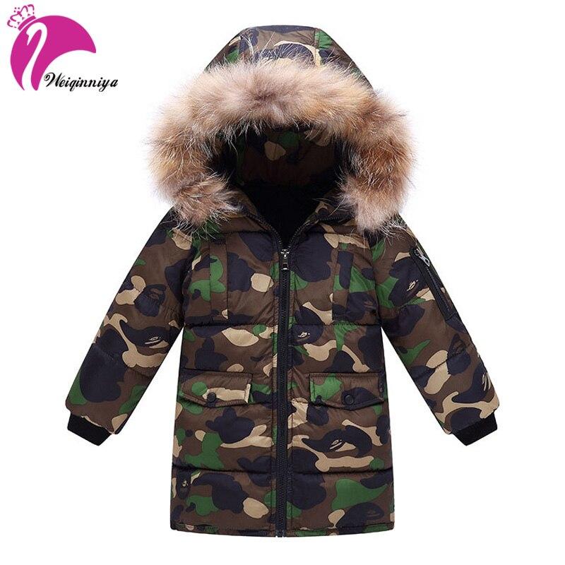 weiqinniya Boys Down Parka Jackets Winter Jacket For Boy Children Windbeaker Parka Coat Russian For Boy Hooded Camouflage Jacket parka miss furs parka