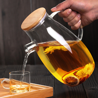 1300 / 1800ml Large Heat Resistant Glass Kettle with Spring Filter Upgraded Bamboo Lid Flower Tea Cups and Tray Giftset Tea Pot