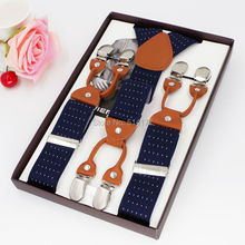 Mans suspenders fashion braces Trousers Suspensorio Menino Boxed Strap 6Clip Suspenders  Length:115cm Husbands/Father Gifts