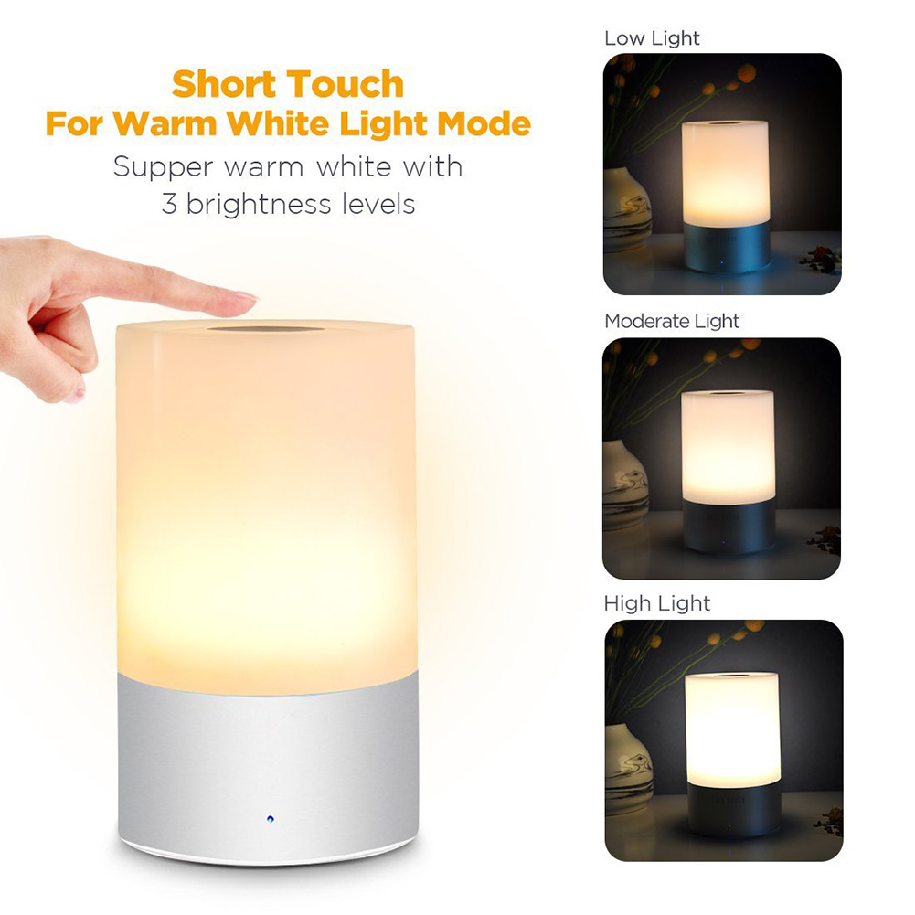 Smart LED Touch Control Sensor USB Night Light Dimmable Bed Bedside Lamp Touch Control 256 RGB Night Lamp original xiaomi yeelight bedside lamp rgb wireless touch control night light for cellphone