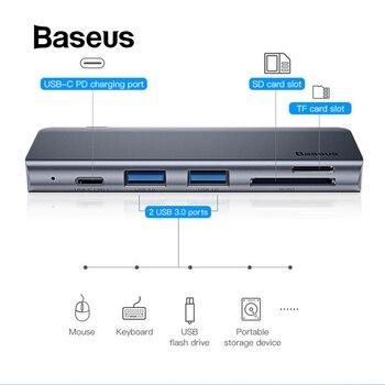 Baseus Màu Xám 5 trong 1 HUB Adapter USB Loại C để USB 3.0*2/SD/TF cho macbook Pro Máy Tính Phụ Kiện với Loại C PD Cung Cấp Điện