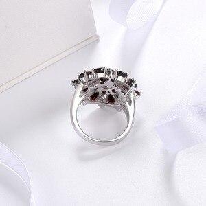 Image 4 - Gümüş granat yüzük 925 takı taş 7.54ct doğal siyah Garnet yüzükler kadın güzel takı klasik tasarım noel hediyesi