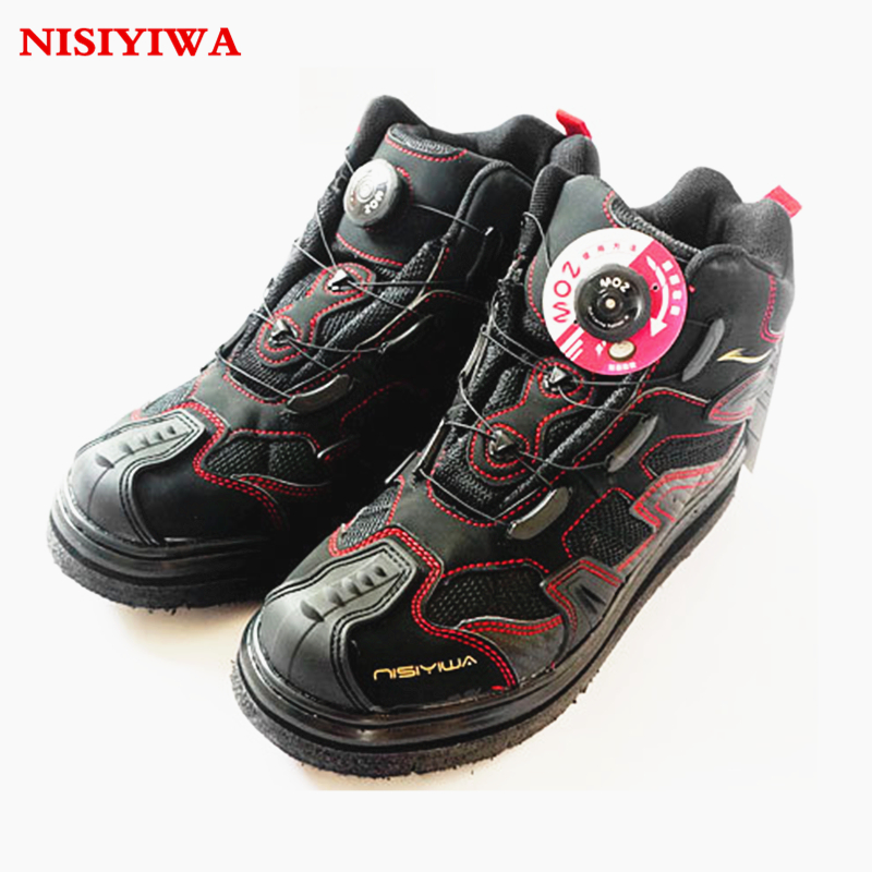 Knob Shoelace Spinner Rock Fishing Waders Shoes Spike Sole Slip-Resistant Mesh Breathable Fishing Shoes Quick dry Fishing Waders