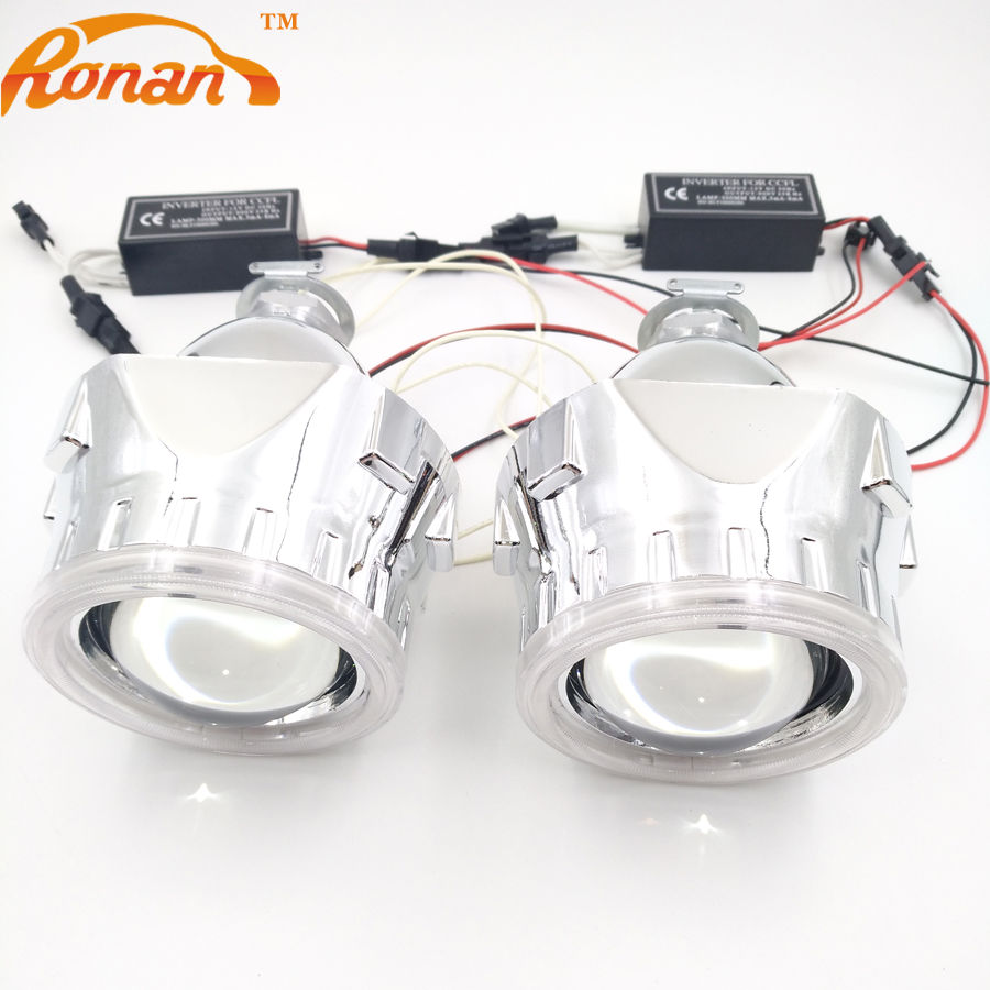 RONAN 2 5 inch Mini HID Bi xenon Projector Lens LHD RHD headlight with CCFL Angel