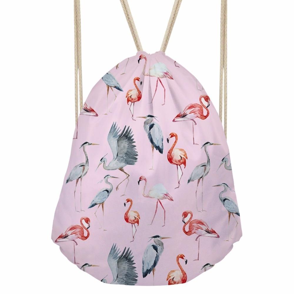 Noisydesigns Fresh Style Cinch Sack Back Pack Girls School Kawaii Bagpack Pink Flamingo 3D Printed Drawstring Bag Beach Bags