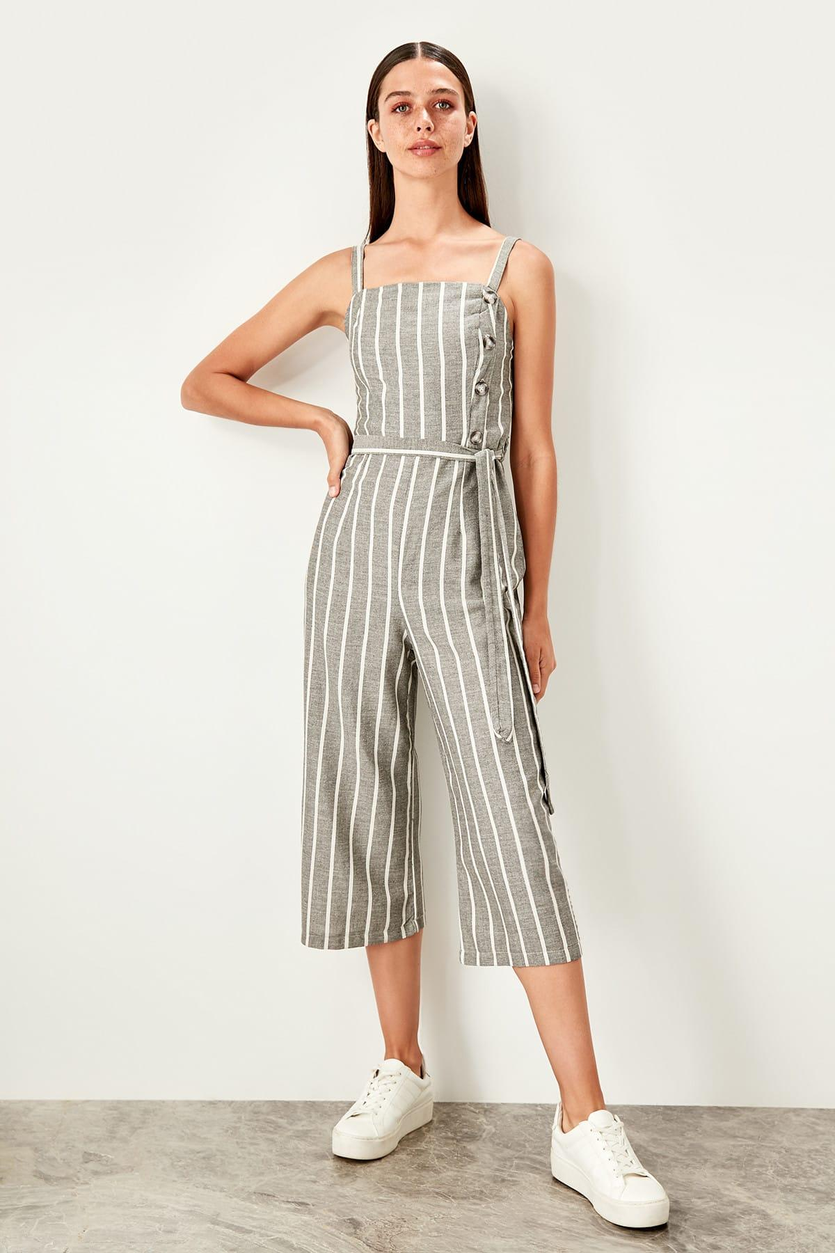 Trendyol Black Striped Jumpsuit TWOSS19TU0029