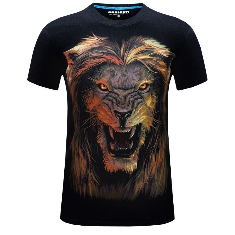Mens 3D printed tshirt t-shirts Print Lion Short Sleeve Graphic Tee Goth Punk Round Tops Animals T-Shirt male shirt homme