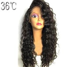 Paff вьющиеся Синтетические волосы на кружеве Человеческие волосы парик бразильский не Волосы Remy натуральный Цвет парик для черный Для женщин с ребенком волос предварительно pluked