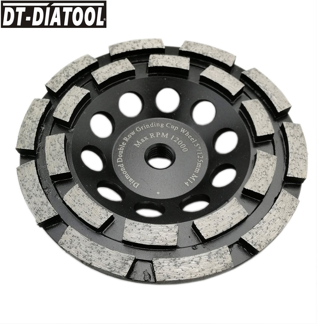 DT-DIATOOL 1piece Premium Diamond Double Row Cup Grinding Wheel for Concrete hard stone granite Dia 125mm/5inch M14 connection dt diatool 2pcs dia 7 double row diamond grinding cup wheel with 5 8 11 thread for concrete hard stone granite dia 7inch 180mm