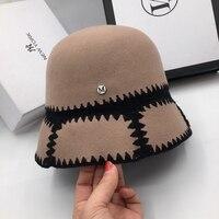 Hats for women hepburn wind wool retro bell bowl Hat fisherman hat elegant bucket hats