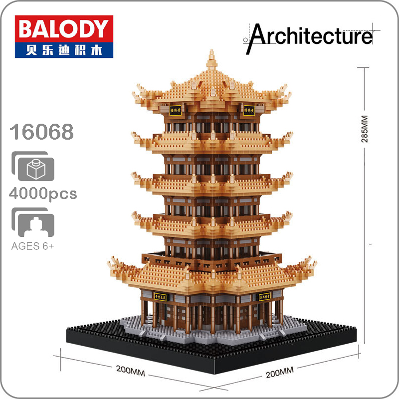 Balody China Ancient Architecture Tower of Yellow Crane Diamond Mini Building Nano Blocks Bricks Assembled Kids Toy Brain GameBalody China Ancient Architecture Tower of Yellow Crane Diamond Mini Building Nano Blocks Bricks Assembled Kids Toy Brain Game