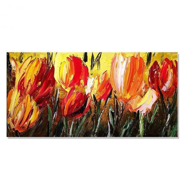 Extreem Handgeschilderde Abstract Rode Bloemen Olieverfschilderij &GC98