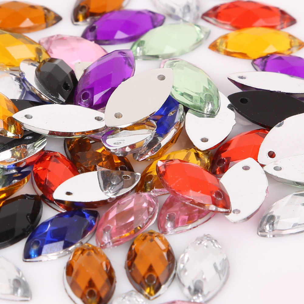 50pcs 7x15mm Horse Eye Shape Crystal Flatback Acrylic Beads Two Holes Loose Beads For DIY Jewelry Making Needlework Accessories