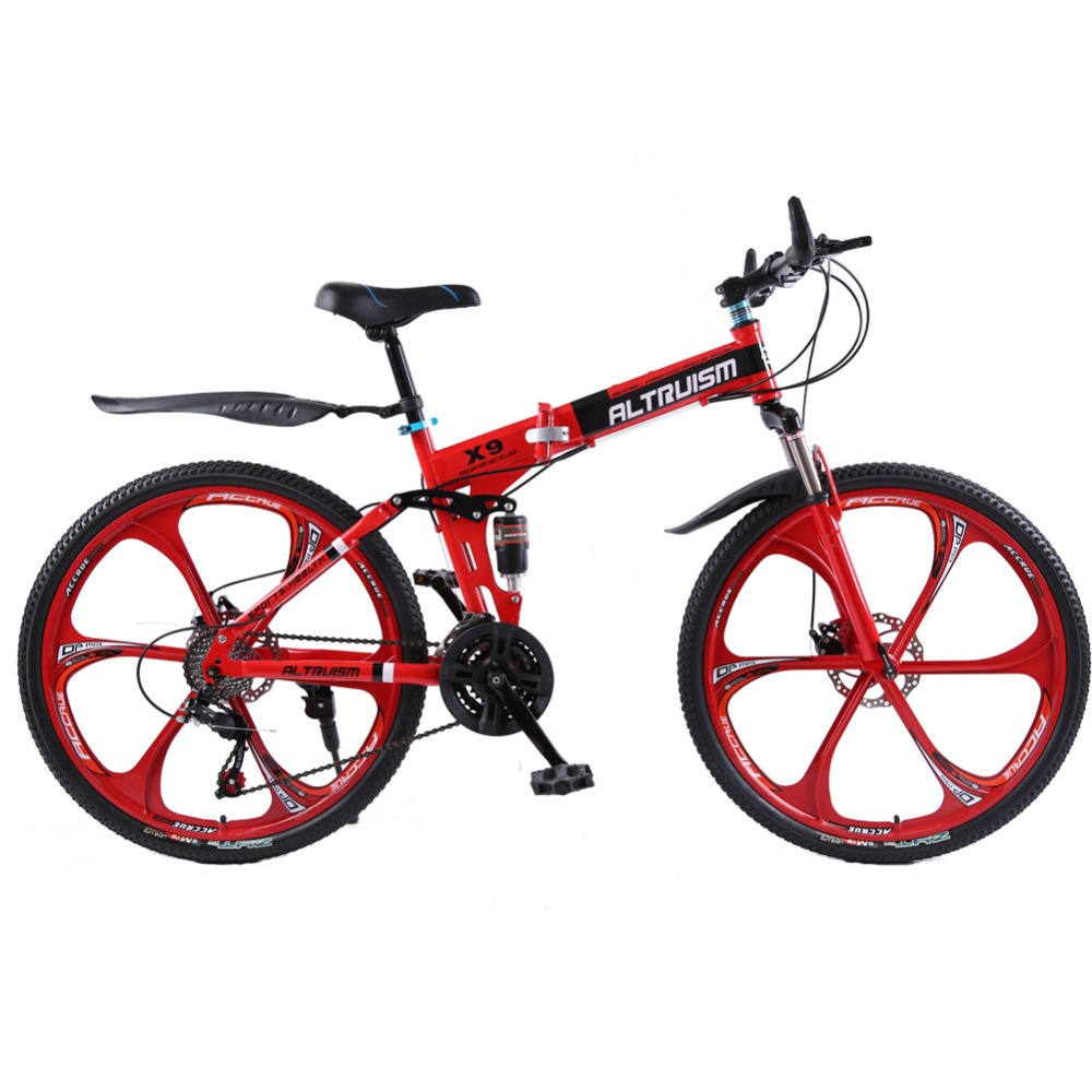 Altruism X9 Folding Mountain Bike Aluminium 21 Speed 26 Inch Dual Disc Brakes Bicycles Mountain Bikes Women Crosscountry Bicycle