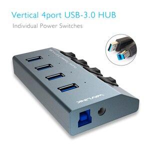 Image 2 - Wavlink الألومنيوم USB HUB 3.0 مع محول الطاقة On/Off التبديل عالية السرعة 4 /7 منافذ USB 3.0 HUB الاتحاد الأوروبي/الولايات المتحدة/المملكة المتحدة التوصيل لأجهزة الكمبيوتر المحمول ماك بوك