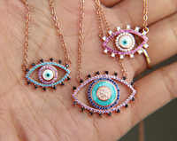 3 colors cz paved evil eye pendant necklace rose gold color Bohemia evil eye jewelry