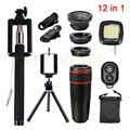 8x de Zoom Telefoto Lente olho de Peixe Grande Angular Macro Lentes Remoto clips de tripé selfie flash luz de preenchimento 12in1 kits para iphone sony
