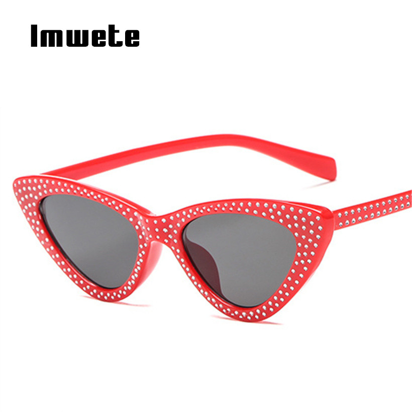 Imwete Luxury <font><b>Cat</b></font> <font><b>Eye</b></font> <font><b>Sunglasses</b></font> <font><b>Women</b></font> Rhinestone Small Sun Glasses <font><b>Sexy</b></font> <font><b>Brand</b></font> <font><b>Designer</b></font> Triangle Glasses Ladies UV400 Eyewear image