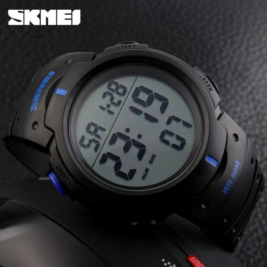 Digital Wristwatches SKMEI 1068 Chronograph Outdoor Running 50M Sport Pu-Strap Big-Dial
