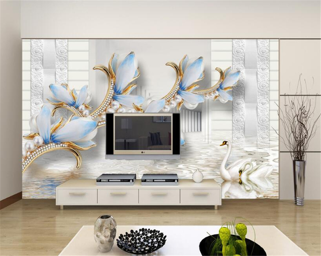 Beibehang Custom Wallpaper Relief Le Ornate Purple Flower Living Room Bedroom Sofa Tv Background Wall
