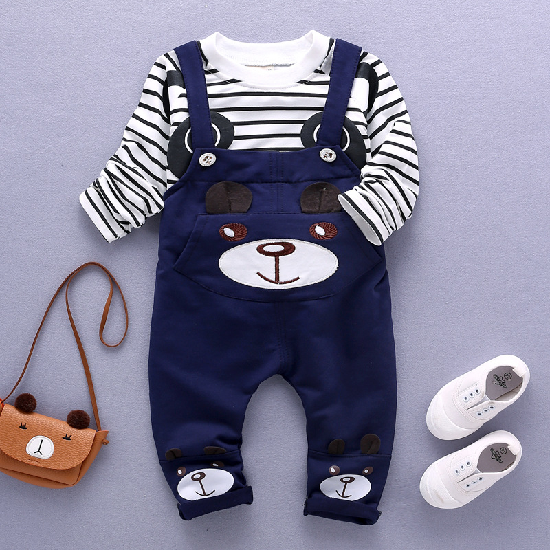 Children clothing sets kids clothes suits baby boy girls cotton long sleeved Tee Cartoon Bear stripe T-shirt+overalls pants 0-4T casual autumn baby children kids infants girls long sleeved t shirt tops overalls bib long pants 2pcs clothing set suits mt989