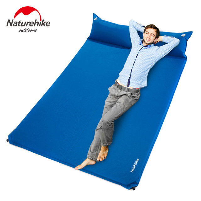 Naturehike Double Size Camping Mattress Two Seat Self Inflating Mat Pad Portable Bed With Pillow