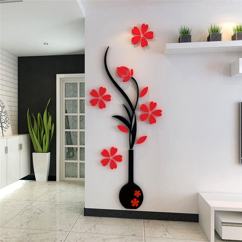 3d Flat Vase Red Flower Plum Tree Mirror Wall Decals Stickers Living Room Hallway Tv Backdrop