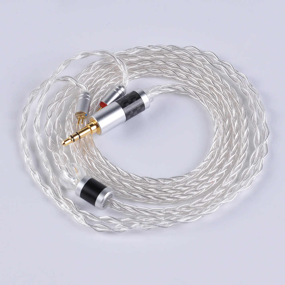 Yinyoo 8 çekirdekli saf gümüş kablosu 2.5/3.5/4.4mm dengeli kablo ile MMCX/2pin konektörü v90 V80 AS10 ZS10 ZST ZS5 ZS6 C10