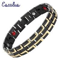 2015 Men 4in1 Magnets Negative Ions Germanium Far Infar Red Stainless Bracelet Black Gold Bangle Free
