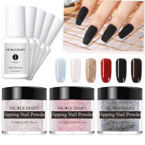 Top-Coat Nail-Powder Glitter-Base Nicole Diary White Colorful 10g