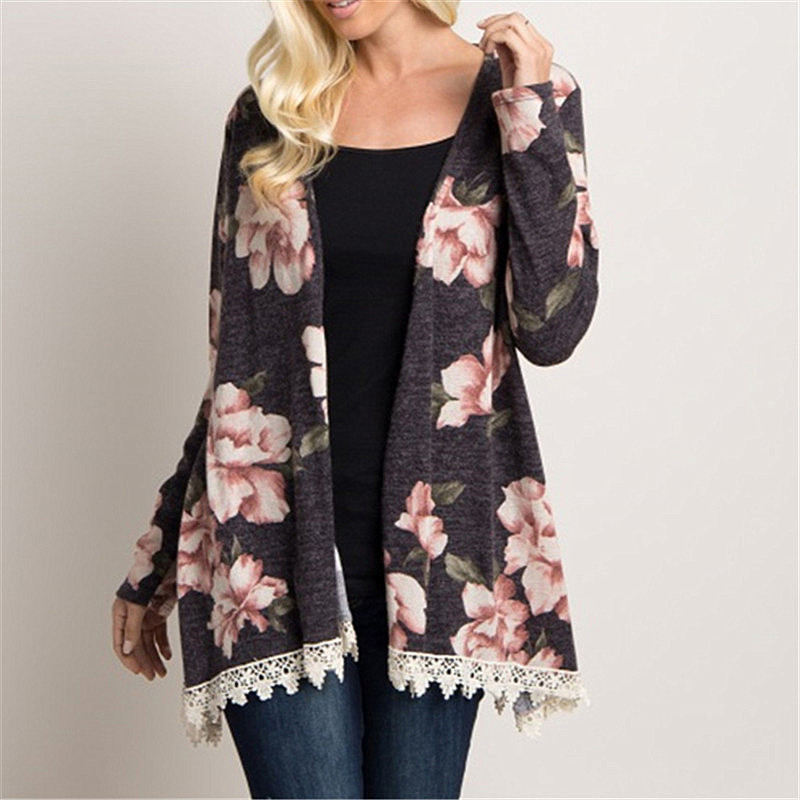 IYAEGE Fashion Blouse Women 2018 Boho Floral Print Open Stitch Kimono Cardigan Elegant Lace Patchwork Ladies Tops Blusas Mujer