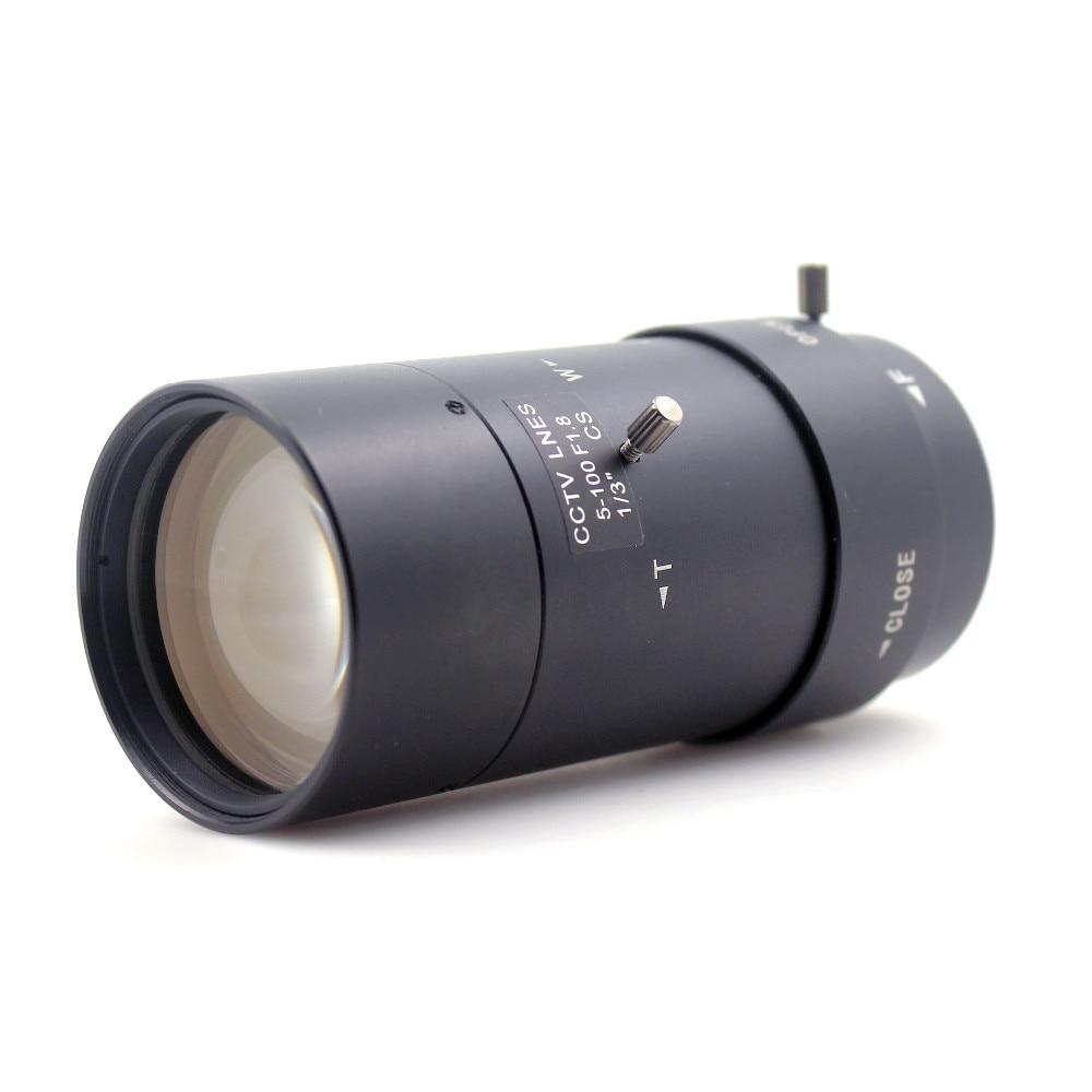 5-100mm F1.8 Manual Iris CCTV Camera Lens 1/3 CS-Mount for DIY Night Vision 8mm 12mm 16mm cctv ir cs metal lens for cctv video cameras support cs mount 1 3 format f1 2 fixed iris manual focus